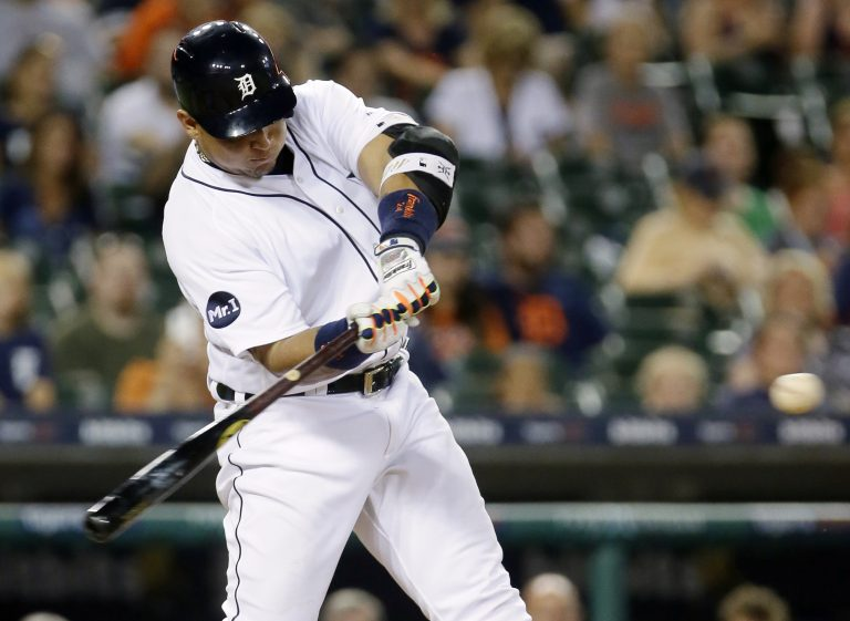 DETROIT, MI - JUNE 15: Miguel Cabrera #24 of the Detroit Tigers hits a walk-off two run home run in the ninth inning to beat the Tampa Bay Rays 5-3 at Comerica Park on June 15, 2017 in Detroit, Michigan.   Duane Burleson/Getty Images/AFP