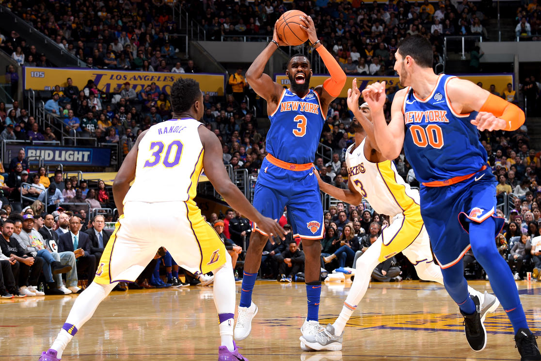 LOS ANGELES, CA - JANUARY 21:  Tim Hardaway Jr. #3 of the New York Knicks handles the ball against the Los Angeles Lakers on January 21, 2018 at STAPLES Center in Los Angeles, California. NOTE TO USER: User expressly acknowledges and agrees that, by downloading and/or using this Photograph, user is consenting to the terms and conditions of the Getty Images License Agreement. Mandatory Copyright Notice: Copyright 2018 NBAE (Photo by Andrew D. Bernstein/NBAE via Getty Images)