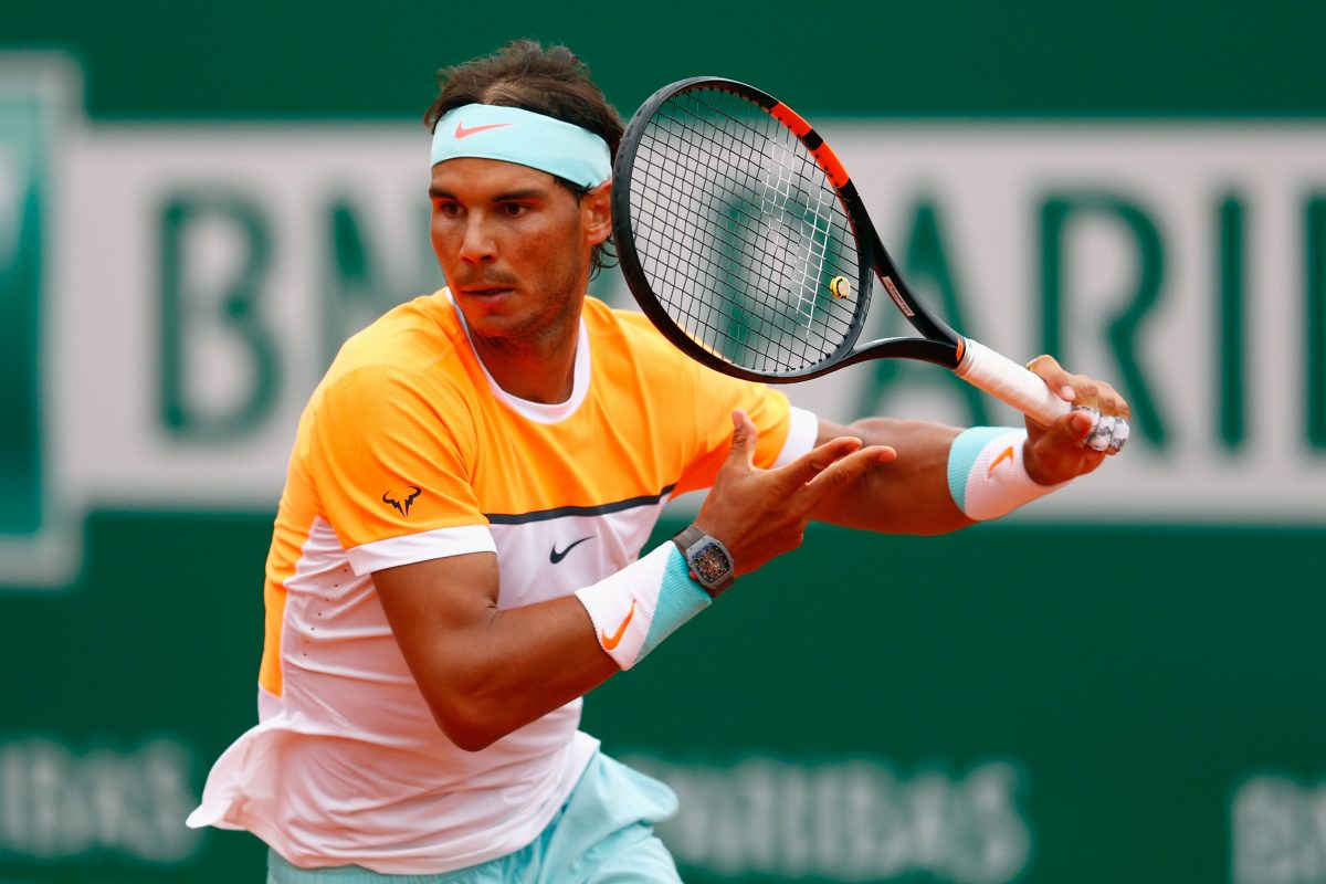 MONTE-CARLO, MONACO - APRIL 15:  Rafael Nadal of Spain in action against Lucas Pouille of France during day four of the Monte Carlo Rolex Masters tennis at the Monte-Carlo Sporting Club on April 15, 2015 in Monte-Carlo, Monaco.  (Photo by Julian Finney/Getty Images)