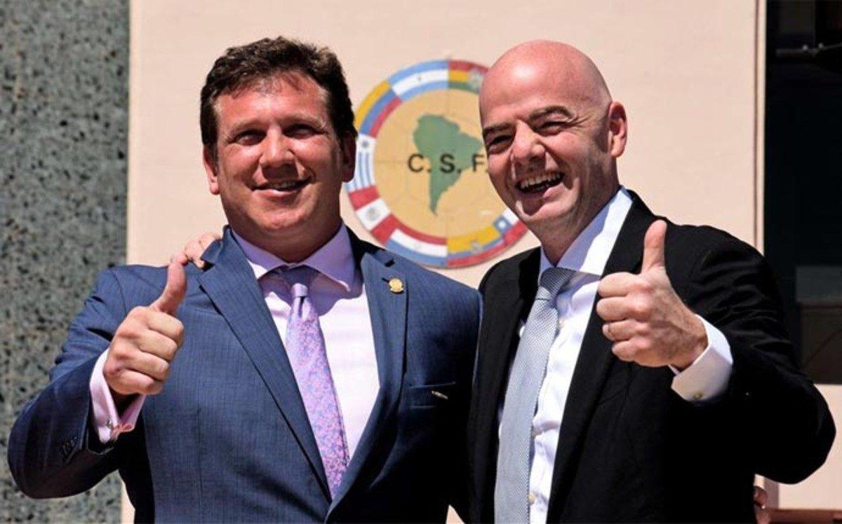 Dominguez e Infantino, Conmebol y FIFA
