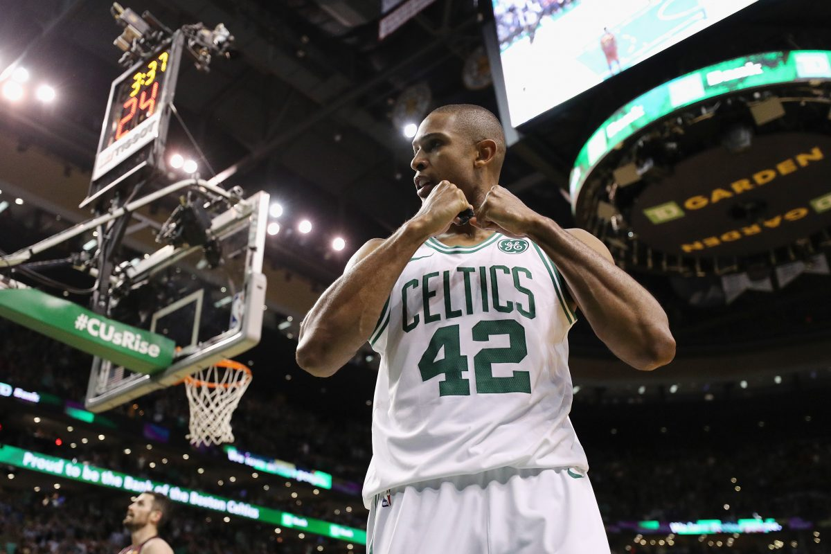 BOSTON, MA - MAY 15: Al Horford #42 of the Boston Celtics reacts in the second half against the Cleveland Cavaliers during Game Two of the 2018 NBA Eastern Conference Finals at TD Garden on May 15, 2018 in Boston, Massachusetts. NOTE TO USER: User expressly acknowledges and agrees that, by downloading and or using this photograph, User is consenting to the terms and conditions of the Getty Images License Agreement.   Maddie Meyer/Getty Images/AFP