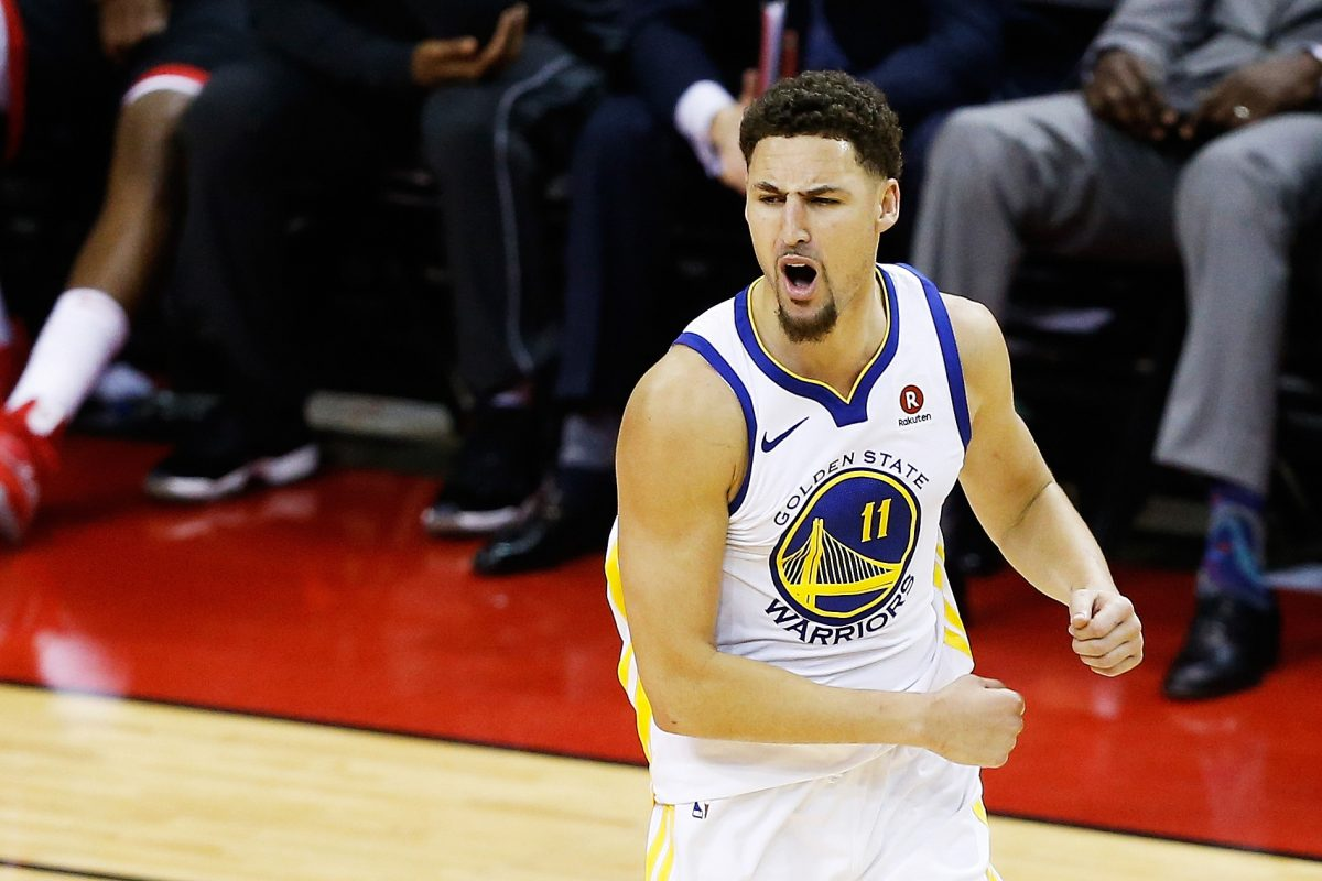 HOUSTON, TX - MAY 28: Klay Thompson #11 of the Golden State Warriors reacts in the fourth quarter of Game Seven of the Western Conference Finals of the 2018 NBA Playoffs against the Houston Rockets at Toyota Center on May 28, 2018 in Houston, Texas. NOTE TO USER: User expressly acknowledges and agrees that, by downloading and or using this photograph, User is consenting to the terms and conditions of the Getty Images License Agreement.   Bob Levey/Getty Images/AFP