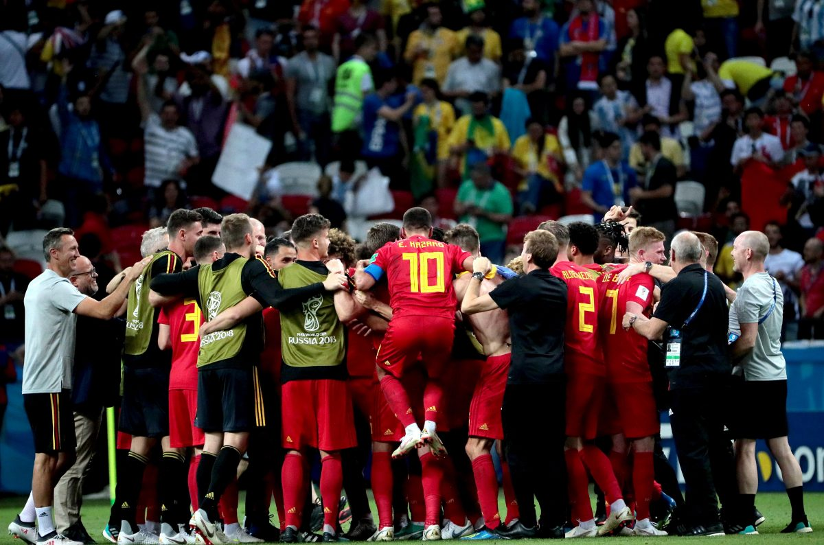Kazan (Russian Federation), 06/07/2018.- Players of Belgium celebrate after the FIFA World Cup 2018 quarter final soccer match between Brazil and Belgium in Kazan, Russia, 06 July 2018.  (RESTRICTIONS APPLY: Editorial Use Only, not used in association with any commercial entity - Images must not be used in any form of alert service or push service of any kind including via mobile alert services, downloads to mobile devices or MMS messaging - Images must appear as still images and must not emulate match action video footage - No alteration is made to, and no text or image is superimposed over, any published image which: (a) intentionally obscures or removes a sponsor identification image; or (b) adds or overlays the commercial identification of any third party which is not officially associated with the FIFA World Cup) (Mundial de Fútbol, Bélgica, Brasil, Rusia) EFE/EPA/WALLACE WOON EDITORIAL USE ONLY EDITORIAL USE ONLY