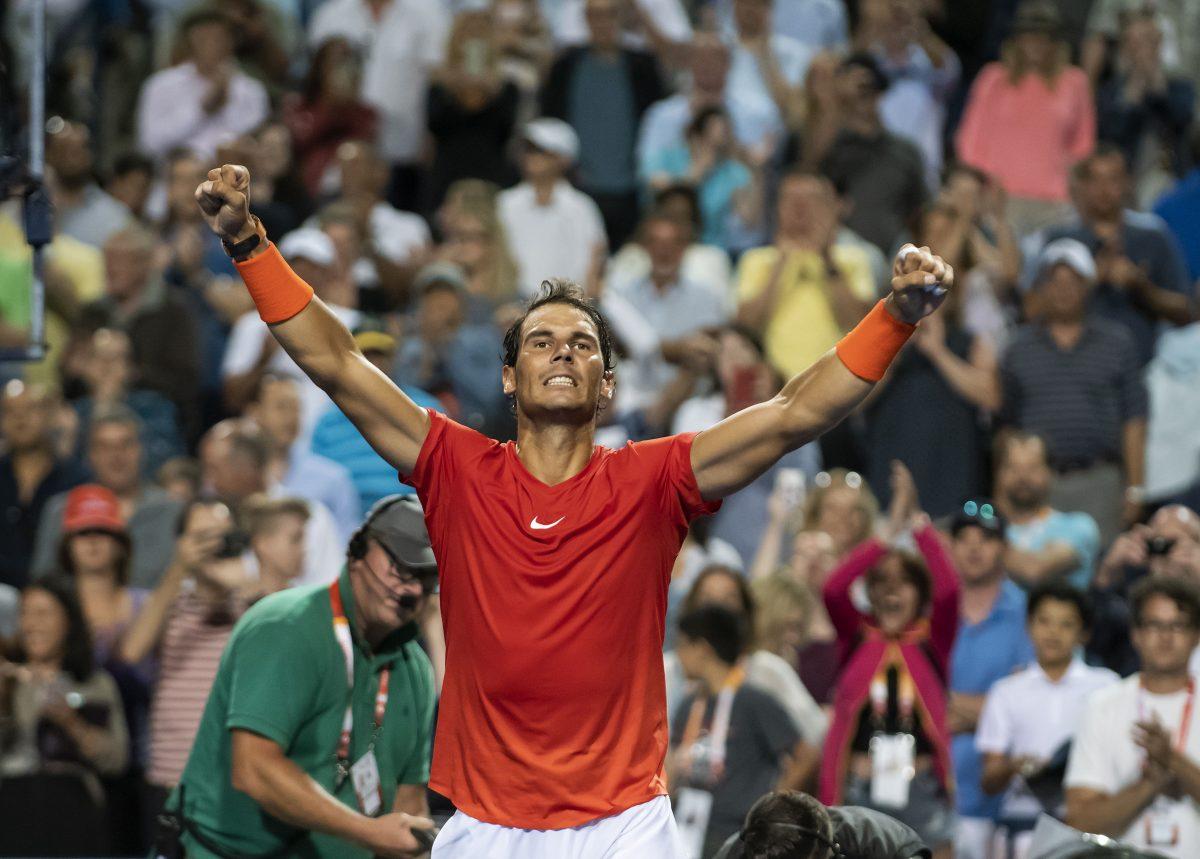WTX18. Toronto (Canada), 10/08/2018.- Rafael Nadal of Spain celebrates his victory against Marin Cilic of Croatia during their quarterfinal match at the Rogers Cup men's tennis tournament in Toronto, Canada, 10 August 2018. (Tenis, Croacia, España) EFE/EPA/WARREN TODA