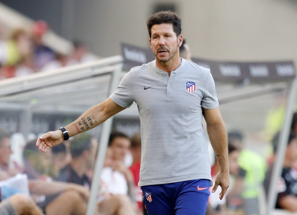 Stuttgart (Germany), 05/08/2018.- Atletico Madrid's head coach Diego Simeone reacts during the friendly soccer match between VfB Stuttgart and Atletico Madrid in Stuttgart, Germany, 05 August 2018. (Futbol, Amistoso, Alemania) EFE/EPA/RONALD WITTEK
