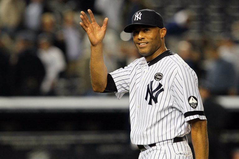 NEW YORK - OCTOBER 20: Mariano Rivera #42 of the New York Yankees celebrates after the Yankees won 7-2 against the Texas Rangers in Game Five of the ALCS during the 2010 MLB Playoffs at Yankee Stadium on October 20, 2010 in the Bronx borough of New York City.  (Photo by Jim McIsaac/Getty Images)