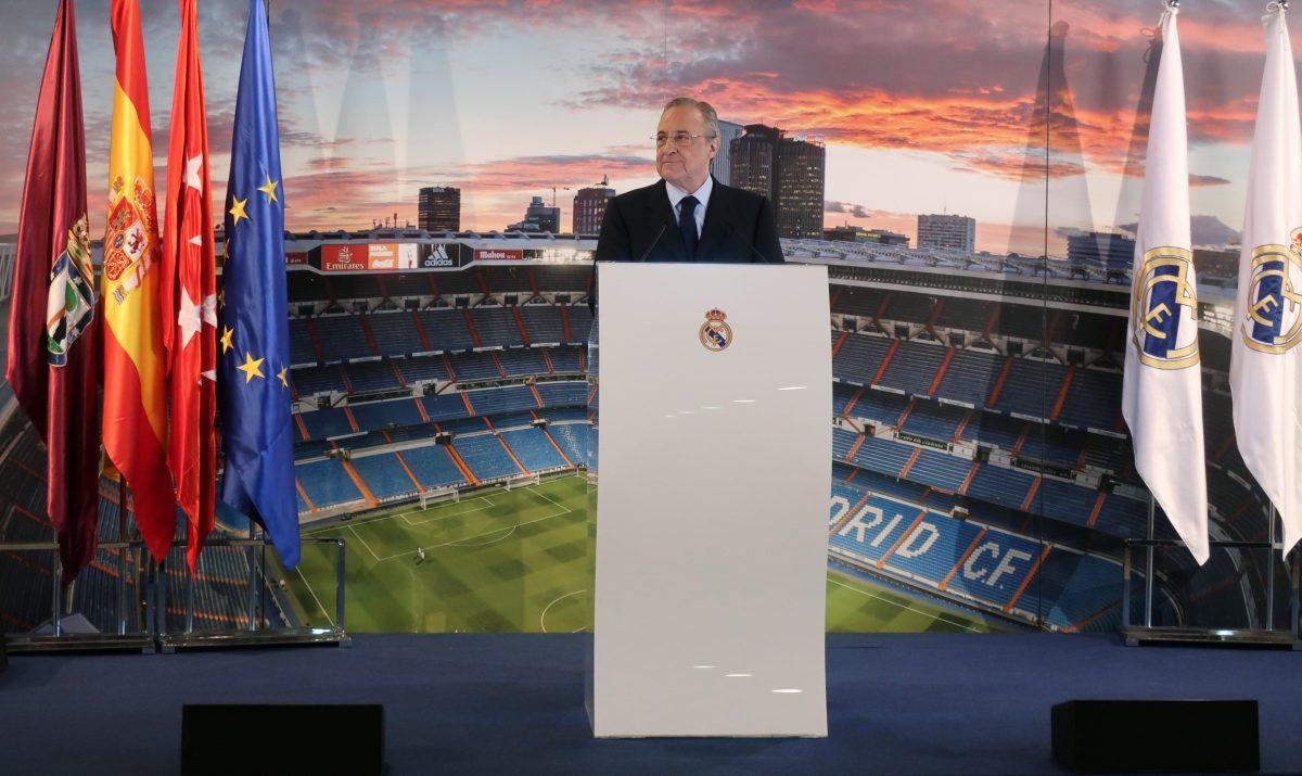 GRAF5157. MADRID, 11/12/2018.- El presidente del Real Madrid, Florentino Pérez, durante su discurso hoy en la Comida de Navidad de la Prensa en el Santiago Bernabéu. EFE/Angel Díaz