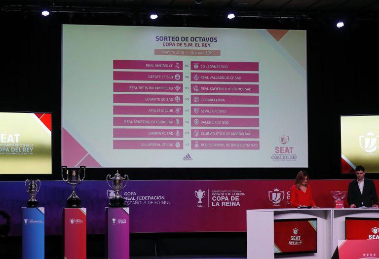 GRAF6408. LAS ROZAS (MADRID), 13/12/2018.- Una pantalla muestra el resultado del sorteo de octavos de final de la Copa del Rey de fútbol que ha tenido lugar en la Ciudad del Fútbol de Las Rozas. EFE/ J.P.Gandul