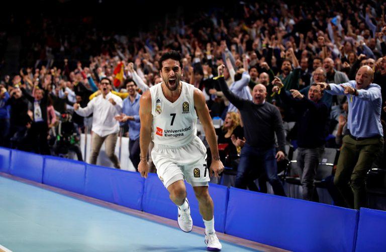 GRAF6637. MADRID, 13/12/2018.- El base argentino del Real Madrid Facundo Campazzo celebra una acción en el partido ante el Barcelona Lassa de la Euroliga que se disputa esta noche en el Wizink Center de Madrid. EFE/ Javier Lopez Hernandez