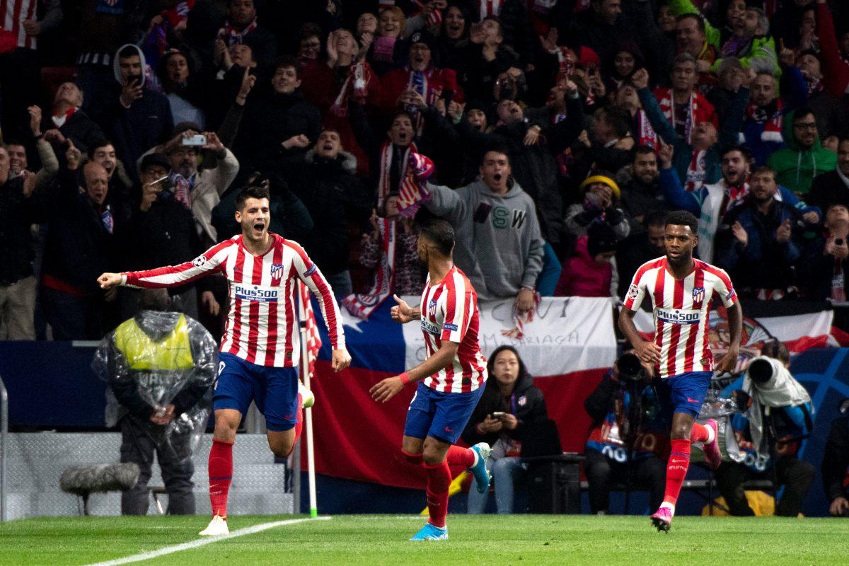 Morata celebra su gol con el Atlético